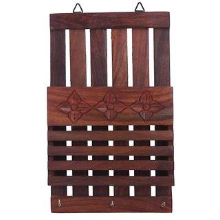 Onlineshoppee Wooden Wall Decor Letter Rack Key Holder