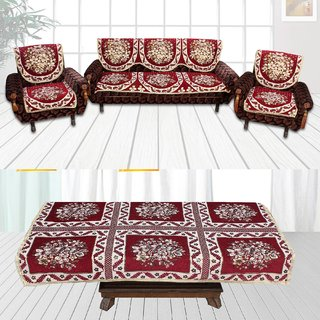Choco Creation 's Classic Combo Maroon 5 Seater Sofa covers+ 1 Table cover