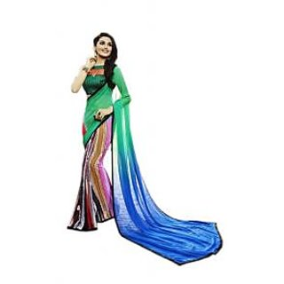 SR Blue Georgette Self Design Saree With Blouse