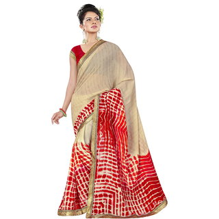 RK FASHIONS Red Georgette Party Wear Printed Saree With Unstitched Blouse - RK236872