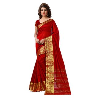 RK FASHIONS Maroon Tissue Party Wear Printed Saree With Unstitched Blouse - RK231122