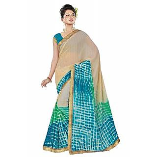 RK FASHIONS Blue Georgette Party Wear Printed Saree With Unstitched Blouse - RK236882