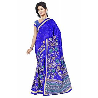 08a9ff8f4 RK FASHIONS Blue Turkey Silk Party Wear Printed Saree With Unstitched Blouse  - RK226412