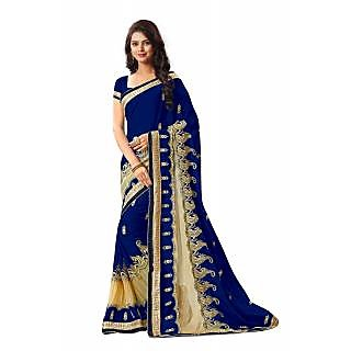 RK FASHIONS Blue Georgette Party Wear Printed Saree With Unstitched Blouse - RK236402