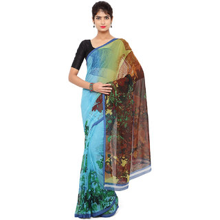 RK FASHIONS Blue Georgette Party Wear Printed Saree With Unstitched Blouse - RK220092