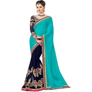 a7e0dd4187 Buy IndianEFashion Turquoise Neavy Blue Georgette Saree Online - Get ...