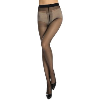 Neska Moda Women Black Panty Hose Long Comfort Stockings
