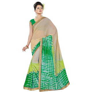 RK FASHIONS Green Georgette Party Wear Printed Saree With Unstitched Blouse - RK236862