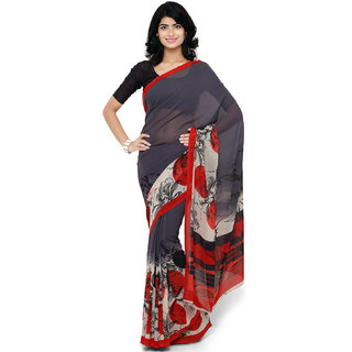 RK FASHIONS Grey Georgette Party Wear Printed Saree With Unstitched Blouse - RK228082