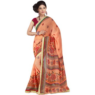 RK FASHIONS Orange Georgette Party Wear Printed Saree With Unstitched Blouse - RK230762