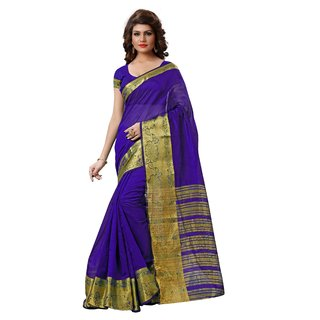 RK FASHIONS Blue Tissue Party Wear Printed Saree With Unstitched Blouse - RK231112