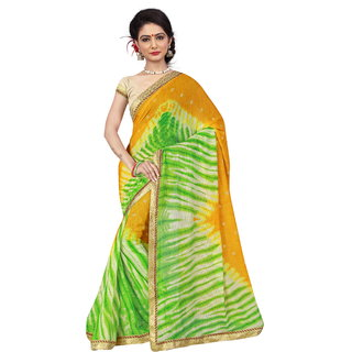 RK FASHIONS Green Georgette Party Wear Printed Saree With Unstitched Blouse - RK236762