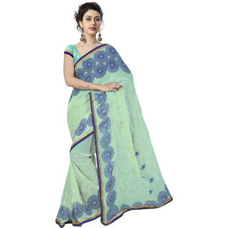 RK FASHIONS Green Georgette Party Wear Printed Saree With Unstitched Blouse - RK235232