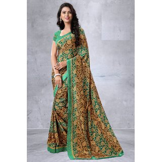 RK FASHIONS Green Turkey Silk Party Wear Printed Saree With Unstitched Blouse - RK230982