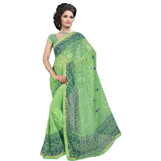 RK FASHIONS Green Georgette Party Wear Printed Saree With Unstitched Blouse - RK235252