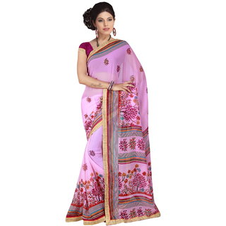 RK FASHIONS Pink Georgette Party Wear Printed Saree With Unstitched Blouse - RK230752