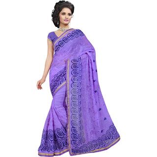 RK FASHIONS Purple Georgette Party Wear Printed Saree With Unstitched Blouse - RK235262