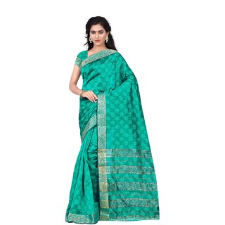 RK FASHIONS Turquoise Cotton Party Wear Printed Saree With Unstitched Blouse - RK233722