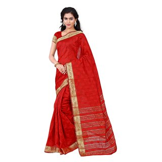 RK FASHIONS Red Cotton Party Wear Printed Saree With Unstitched Blouse - RK233812