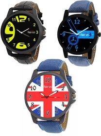 COMBO'S 3 PCS Radius Denim Analog Wrist Watch For Men R-1+9