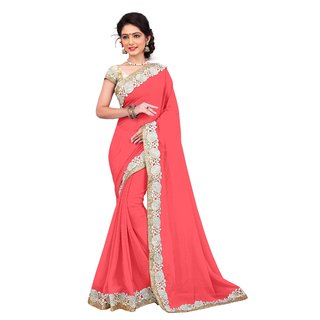 RK FASHIONS Pink Georgette Party Wear Printed Saree With Unstitched Blouse - RK230862