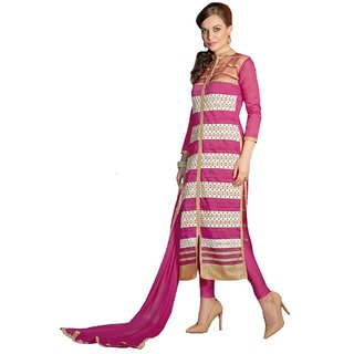 Dress Material - Pink Embroidered Chanderi Unstitched Dress Material With Dupatta - RK Fashions