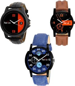 COMBO'S 3 PCS Radius Denim Analog Wrist Watch For Men