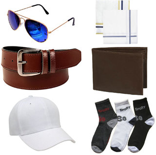 Combo of 3 Ankle Cotton Socks , Brown Belt , Wallet , 2pc Handerchief With Cap And Glasses