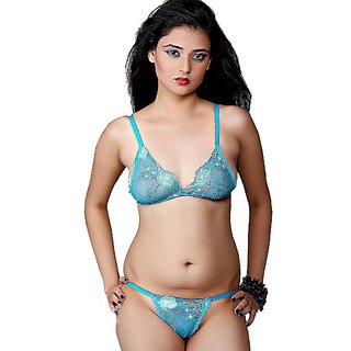 Turquoise Hot Bridal Bikini Bra Panty Set 112