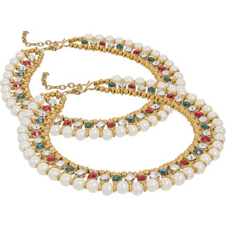 The Luxor Designer Green And Maroon Red Beautiful Anklets