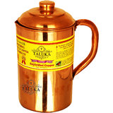 Taluka ( 4.2 x 8.8 Inches approx ) Pure Hand Made Best Quality Copper Jug For Water Drinking 100 Pure Copper Jug Pitcher Capacity 1500 ml Water Storage Serving Drinking Water  Home Hotel Restaurant Tableware Drinkware (1.5 Liter) (Plain)