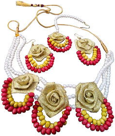 Bridal Gota Flower Choker Set With Pearls and Red and Yellow Colour Beads