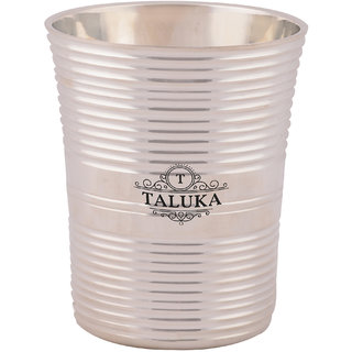 Taluka ( 3 x 3.5 inches ) Pure Brass Glass Silver Coated Round Water Serving Purpose Steel Glass Home Hotel Drinkware Good Health Benefits Yoga Ayurveda