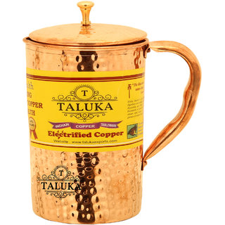 Taluka ( 4 x 9 Inches approx ) Pure Hand Made Best Quality Hammered Copper Jug For Water Drinking 100 Pure Copper Jug Pitcher Capacity 1500 ml Water Storage Serving Drinking Water  Home Hotel Restaurant Tableware Drinkware
