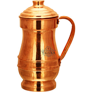 Taluka Handmade Pure Copper Jug Capacity 1500 ml (4.5 x 10 Inches) For Drinking Water Storage