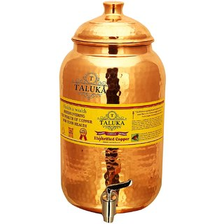 Taluka (Dia-3.7 x Height-8.6 Inches) Handmade Healthy Pure Copper Matka Water Pot Pitcher Pot Water Tank Capacity - 2000 ML for Water Drinking and Storing Purposes Healthy Habits Ayurvedic benefits Weight - 630 Grams