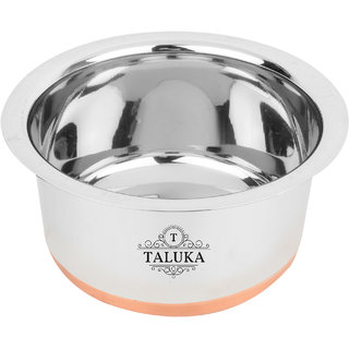 Taluka ( 9 x 5.5 Inches Approx) Stainless Steel Copper Bottom Tope Steel Topia Bhaguna Capacity- 3 Liter