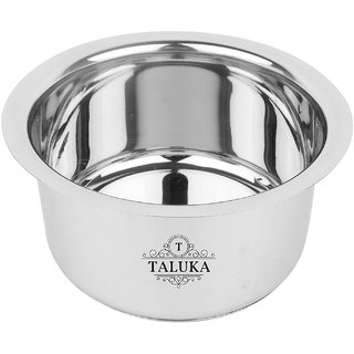 Taluka ( 9.5 x 5.5 Inches approx ) Stainless Steel Induction Friendly Tope/topia/ Bhaguna Capacity - 3 Liter Home Use