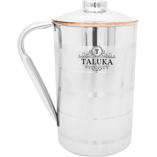 Taluka ( 4.2 x 6.8 inches approx ) Copper Stainless Steel Jug Capacity 1000 ml Water Restaurant Hotel Ware Home Garden Kitchen Dinning (1 LITER) Size  1 LITER