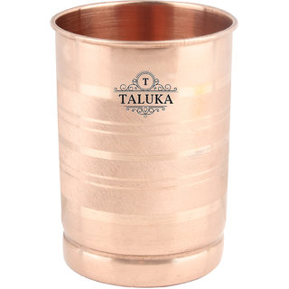 Taluka ( 3 x 4 inches ) Pure Copper Plain Glass Tumbler Handmade Best Quality Water Serving Purpose Copper Glass Home Hotel Drinkware Good Health Benefits Yoga Ayurveda