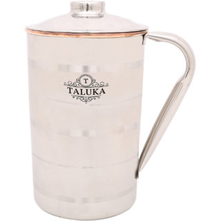 Taluka ( 4.6 x 7.4 inches approx ) Copper Stainless Steel Jug Capacity 1500 ml Water Restaurant Hotel Ware Home Garden Kitchen Dinning (1.5 LITER)