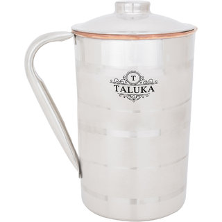 Taluka ( 5 x 9 inches approx ) Copper Stainless Steel Jug Capacity 2000 ml Water Restaurant Hotel Ware Home Garden Kitchen Dinning (2 LITER)