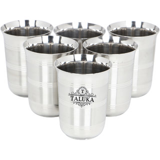 Taluka ( 3 x 4 inches) Pure Stainless Steel Glass Round SET OF 6 WATER Serving Purpose Steel Glass Home Hotel Drinkware STEEL GLASS Size  3 x 4 inches