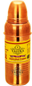 Taluka ( 2.5 x 9.5 Inches Approx ) Pure Copper Handmade Quality Plain Copper Bottle Capacity - 800 ML Water Bottle Ayurvedic Health Benefits (Ringed)
