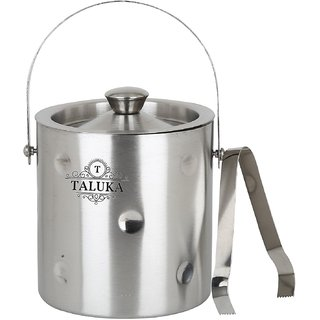 Taluka ( 5.14 x 7.8 inches approx) Stainless Steel Ice Bucket Champagne bucket Capacity- 1500 ml Free Tong Bar Ware Restaurant Home Gift Purpose