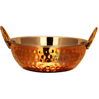 Taluka (7 x 2.9 Inches approx) Hammered Copper Kadhai Steel Inside Capacity - 700 ML Restaurant Ware Hotel Ware Home Ware Gift Item (700 ML)