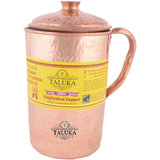 Taluka ( 4.5 x 9 Inches approx ) Pure Hand Made Best Quality Hammered Copper Jug For Water Drinking 100 Pure Copper Jug Pitcher Capacity 2500 ml Water Storage Serving Drinking Water  Home Hotel Restaurant Tableware Drinkware (2.5 Liter)