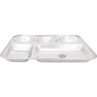 Taluka (13 x 10.7x1 inches) Pure Stainless Steel 5 in 1 Compartment Plate Thali Bhojan Thali Steel Plate Food Dinner Snacks Plate
