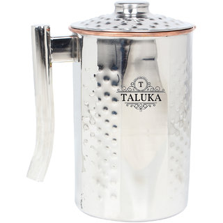 Taluka ( 5 x 9 inches approx ) Copper Stainless Steel Jug Capacity 2500 ml Water Restaurant Hotel Ware Home Garden Kitchen Dinning