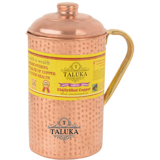 Taluka ( 4 x 9 Inches approx ) Pure Hand Made Best Quality Hammered Copper Jug For Water Drinking 100 Pure Copper Jug Pitcher Capacity 2000 ml Water Storage Serving Drinking Water  Home Hotel Restaurant Tableware Drinkware (2.0 Liter)